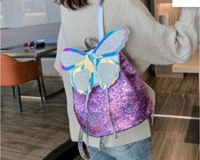 Colorful Sequins Backpack Leather Butterfly