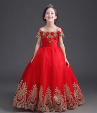 Red Luxury Appliques Embroidery