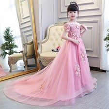 Pink Glizt Trailing Gown