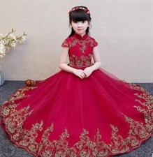 Elegant Red Lace Long Dress