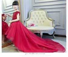 Red Long Trailing Flower Gown