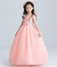 Luxury Pink Tulle Flower Girl Dress