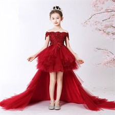 Red Long Trailing Flower Dress