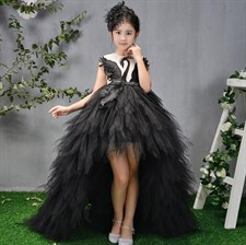 High-end Swan Crystal Tulle Trailing