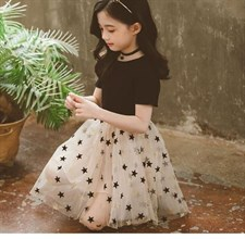Girls Star Pattern Short Sleeve Dress