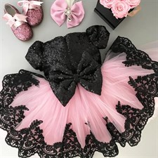 Sequin Bowknot Lace Tulle Tutu