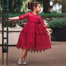 Red Summer Flower Lace Dress