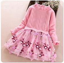 Girl's sweater lace princess style flower dress