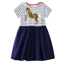 Sequins Horse Striped Dress