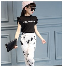 Black Shirt White Flower Pant Set