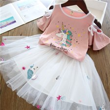 Unicorn Pink Shirt with white Skirt
