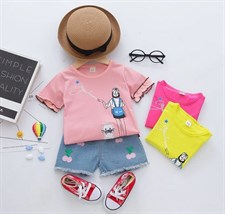 Cartoon girl's short sleeve jean Set
