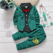 Button Letter Bow Suit