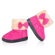 Bow plush boots