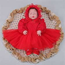 Red Lace Newborn Princess Dress